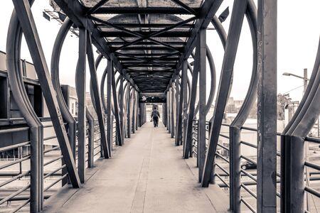 Photograph of a metal pedestrian bridge Sajtókép