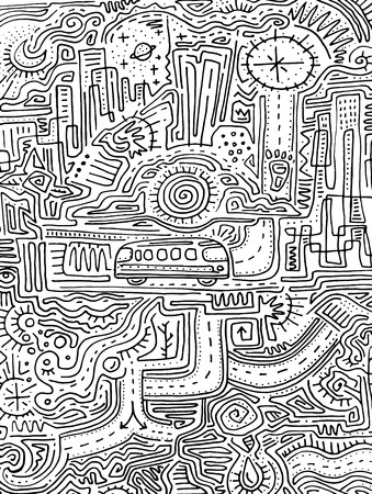 Hand drawn vector  illustration or drawing of an urban maze and symbols