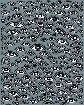 Hand drawn vector illustration or drawing of a human eyes pattern Ilustração