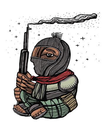 Hand drawn vector illustration or drawing of a zapatis rebel soldier Ilustração