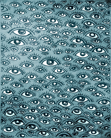 Hand drawn vector illustration or drawing of a human eyes pattern 版權商用圖片