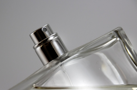 Photograph of a Fragrance bottle close up