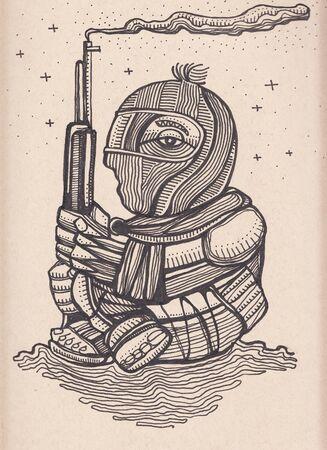 手描きイラストや zapatis 反乱軍兵士の図面