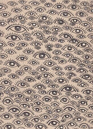 Hand drawn illustration or drawing of a human eyes pattern 版權商用圖片