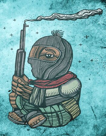 revolutionary: Hand drawn illustration or drawing of zapatist mexican revolutionary soldier Stock Photo