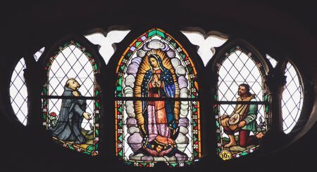 Photograph of a stained glass window in Basilica de Guadalupe temple in Monterrey Nuevo Leon Mexico