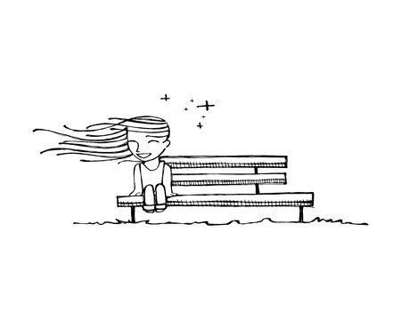 Hand drawn vector illustration or drawing of a happy girl on a bench