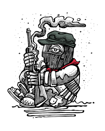 Hand drawn vector illustration or drawing of a mexican zapatist rebel soldier with rifle Stok Fotoğraf - 74347812