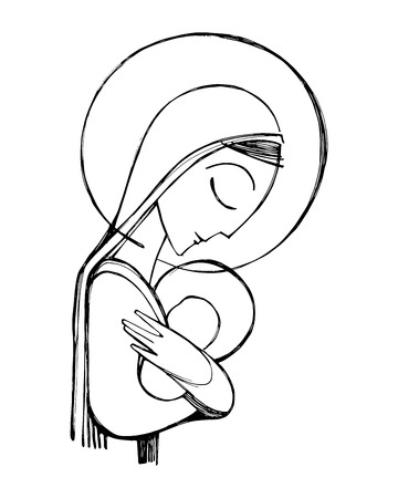 Hand drawn vector illustration or drawing of Virgin Mary and Baby Jesus Stock Illustratie