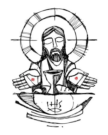Hand getekende vector illustratie of tekening van Jezus Christus met wijn, brood en open handen