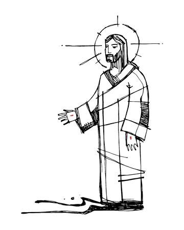 Hand drawn vector illustration or drawing of Jesus Christ walking on the water