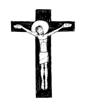 Hand drawn vector illustration or drawing of Jesus Christ at the Cross