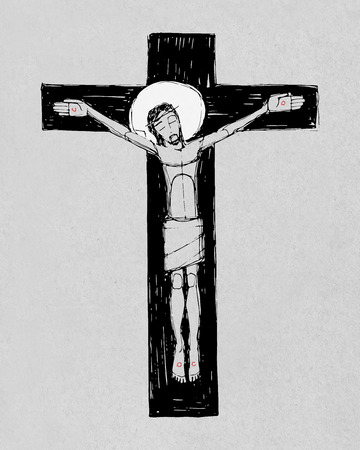 Hand drawn illustration or drawing of Jesus Christ at the Cross