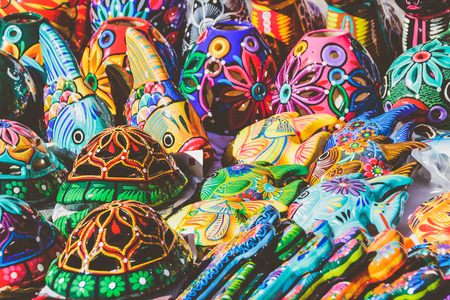 Photograph of some turtles and fishes colorful handicrafts