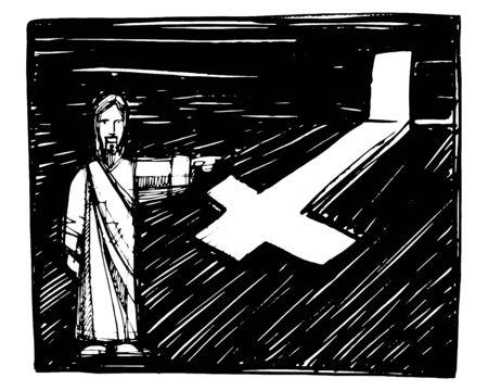 Hand getekende vectorillustratie of tekening van Jezus Christus die uitnodigt om met hem te lopen Stock Illustratie