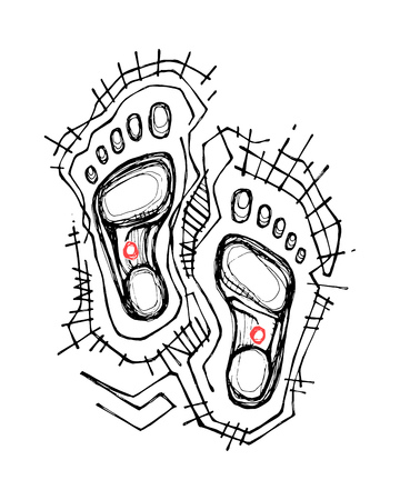 Hand drawn vector illustration or drawing of Jesus Christ feet