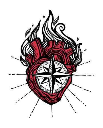 Bergeben Sie gezogene Vektorillustration oder Zeichnung einer menschlichen Hand mit einem Kompass und einem Feuer Standard-Bild - 75259275