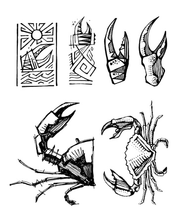 Hand drawn vector illustration or drawing of some crabs and pincers