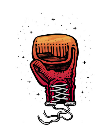 Hand drawn vector illustration or drawing of a boxing glove Çizim