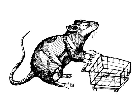 Hand drawn vector illustration or drawing of a rat with a shopping cart Ilustrace