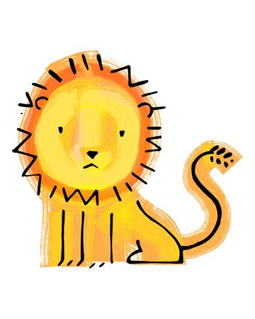 Hand drawn illustration or drawing of a childish lion Stok Fotoğraf