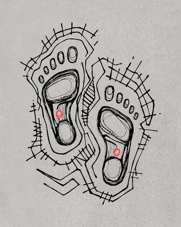 Hand drawn illustration or drawing of Jesus Christ feet