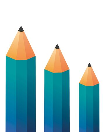 Hand getrokken vectorillustratie of tekening van drie houten potloden Stock Illustratie