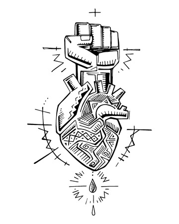 Hand drawn vector illustration or drawing of a human heart and fist with indigenous symbols