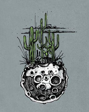 手描きイラストやそれをいくつかのサボテンと砂漠の植物月の図面