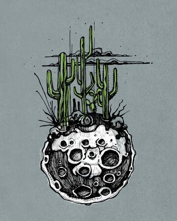 clouds: Hand drawn illustration or drawing of a moon with some cactus and desert plants on it