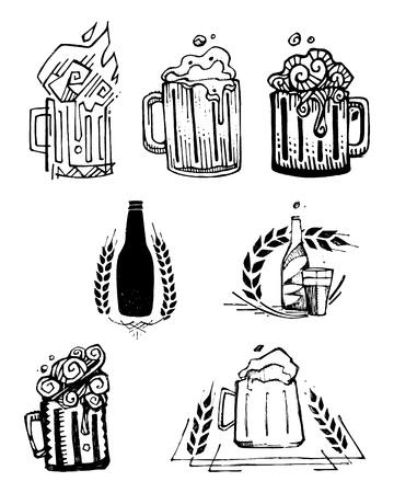 Hand getekende vector illustratie of tekening van enkele bier potten en flessen