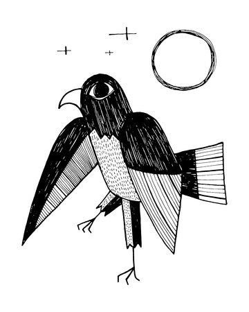Hand drawn vector illustration or drawing of an eagle in an indigenous style Ilustração