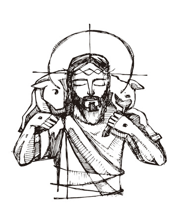 Hand drawn vector illustration or drawing of Jesus Christ and a sheep Фото со стока - 80380646