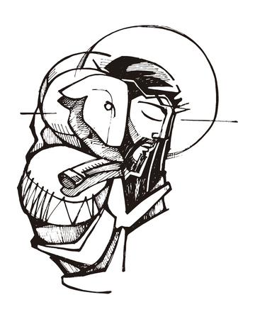Hand drawn vector illustration or drawing of Jesus Christ and a sheep