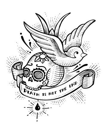 Illustration vectorielle dessiné à la main ou dessin d'oiseau et crâne d'hirondelle dans un style de tatouage de vieille école avec la phrase: la mort n'est pas la fin