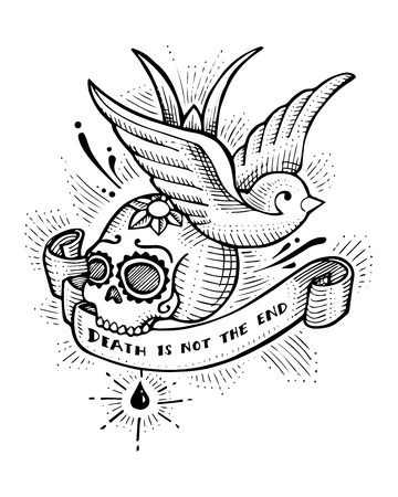 Hand drawn vector illustration or drawing of swallow bird and skull in an old school tattoo style with the phrase: Death is not the end Illustration