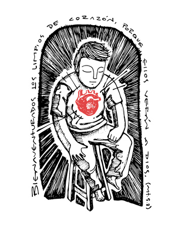 corazon: Hand drawn vector illustration or drawing of the Chrstian biblical beatitude in spanish: Bienaventurados los limpios de corazon porque ellos veran a Dios, which means: Blessed are the pure of heart,