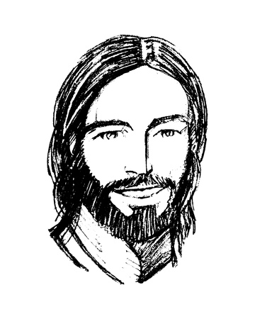 Hand drawn vector illustration or drawing of Jesus Christ smiling face Illustration