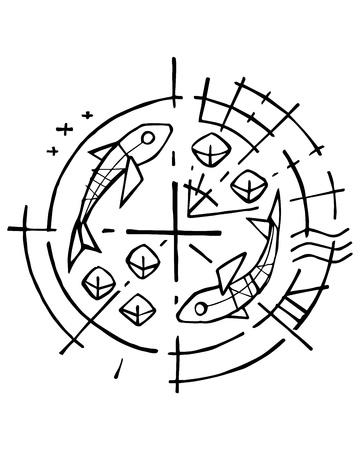 Hand getrokken vectorillustratie of inkttekening van het christelijke symbool van vijf broden en twee vissen Stockfoto - 82982994