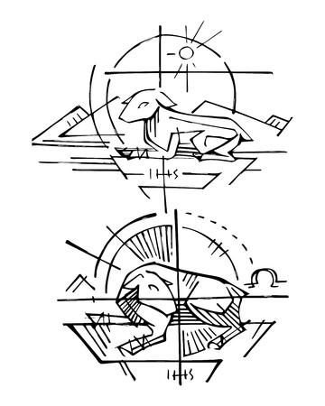 Hand getekende vectorillustratie of tekening van Jezus Christus, vertegenwoordigd door het religieuze symbool van het Lam van God