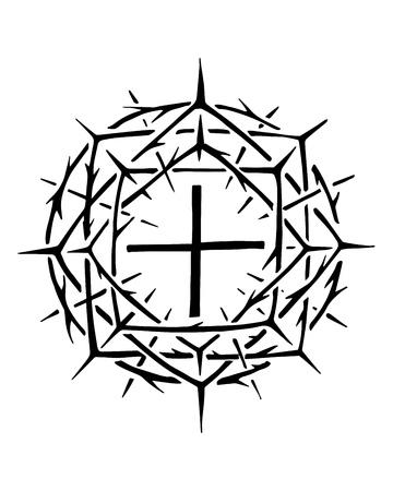 Hand gezeichnet Vektor-Illustration oder Tinte Zeichnung der christlichen Symbol von Jesus Christus Krone der Dornen Standard-Bild - 82982996