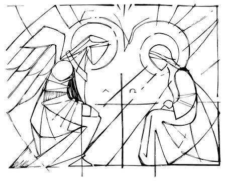 Hand getekende vectorillustratie of tekening van Maagd Maria en Gabriel Aartsengel bij de aankondiging