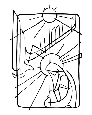 Hand drawn vector illustration or drawing of Virgin Mary and Holy Spirit at the Incarnation Illusztráció