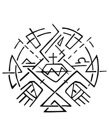Bergeben Sie gezogene Vektorillustration oder Tintenzeichnung des christlichen Symbols des christlichen Symbols von Jesus Sacred Heart und von Händen Standard-Bild - 82949686