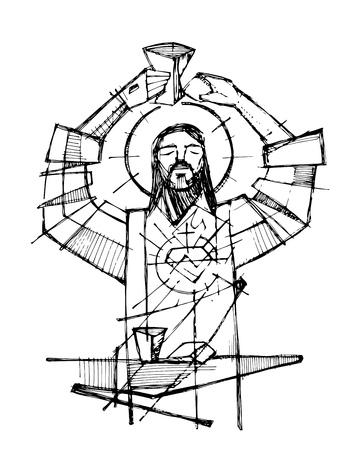 Hand getrokken vectorillustratie of tekening van Jezus Christus en Eucharistie religieuze symbolen