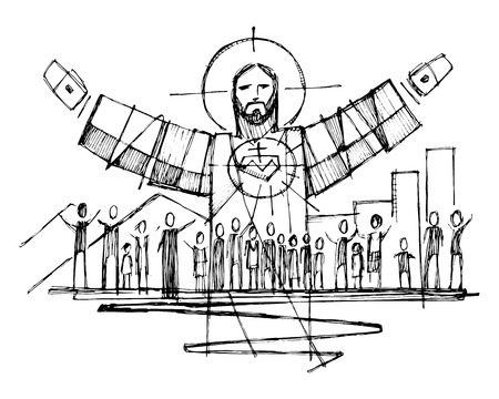 Hand drawn vector illustration or drawing of Jesus Christ with open arms and and people