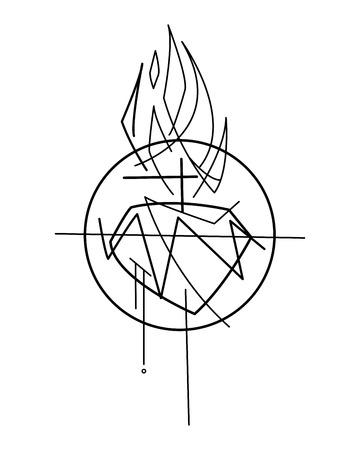 Hand drawn ink of Jesus Christ. 向量圖像