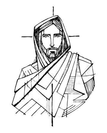 Hand drawn ink of Jesus Christ. Stock Illustratie