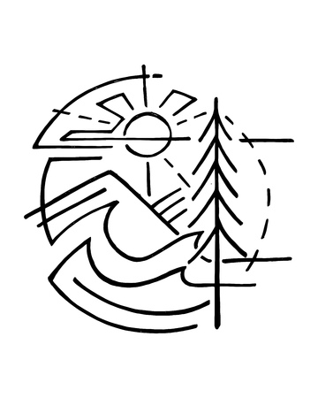 Hand drawn vector illustration or drawing of forest symbol with a pine, mountain, water and sun.