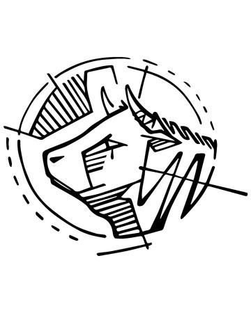 Hand getekende vector illustratie of inkt tekening van een kop van een koe. Stock Illustratie